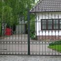 Tweedelige poort met krullen, punten en open torsen.